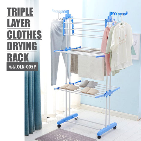 Triple Layer Foldable Clothes Drying Rack | 3 Tier Airer (Grey & White)