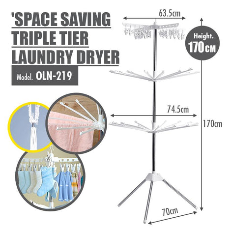 Space Saving Triple Tier Stainless Steel Laundry Dryer (Height: 170cm)