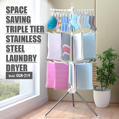 Space Saving Triple Tier Stainless Steel Laundry Dryer (Height: 170cm) - HOUZE - The Homeware Superstore
