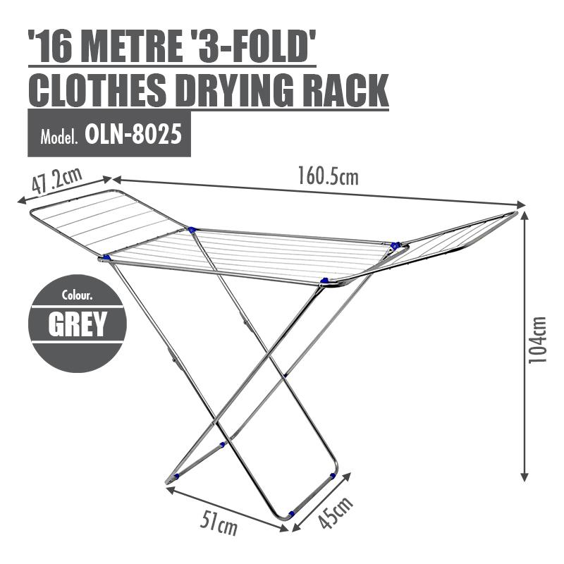 16 Metre '3-Fold' Clothes Drying Airer Rack (Grey)