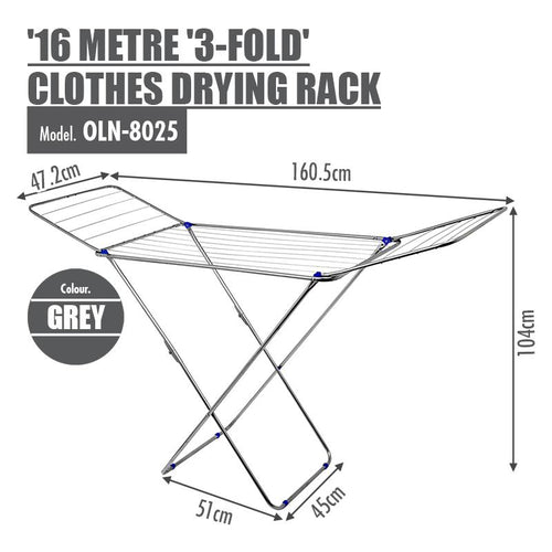 16 Metre '3-Fold' Clothes Drying Airer Rack (Grey) - HOUZE - The Homeware Superstore