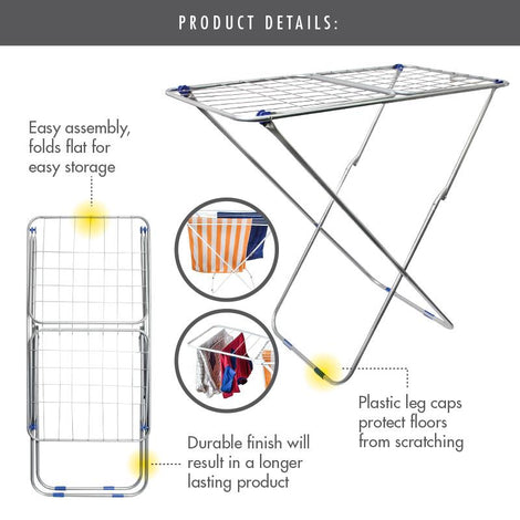 '16 Metre '3-Fold' Clothes Drying Airer Rack (Grey)
