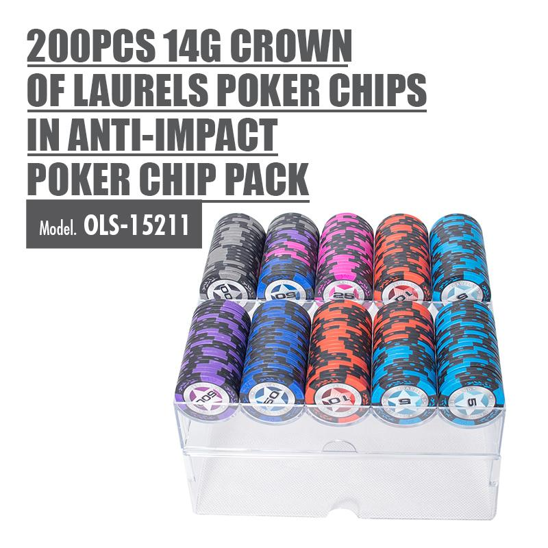 200pcs 14g Crown Of Laurels Poker Chips in Anti-impact Poker Chip Pack - HOUZE - The Homeware Superstore
