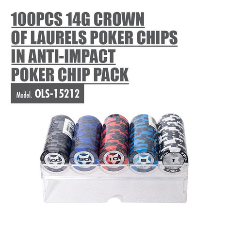 100pcs 14g Crown Of Laurels Poker Chips in Anti-impact Poker Chip Pack