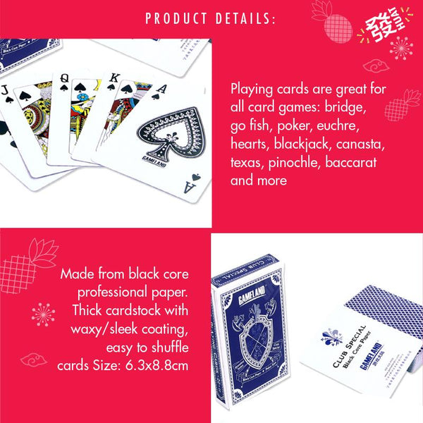 Gameland Black Core Paper Poker Playing Cards (Blue) - HOUZE - The Homeware Superstore