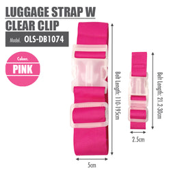 Luggage Strap with Clear Clip (Pink) - HOUZE - The Homeware Superstore
