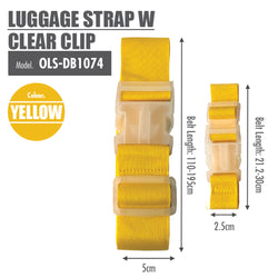Luggage Strap with Clear Clip (Yellow) - HOUZE - The Homeware Superstore