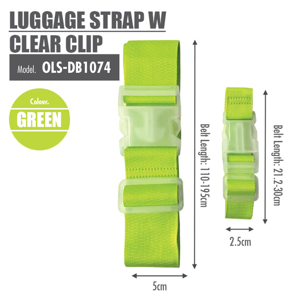 Luggage Strap with Clear Clip (Green) - HOUZE - The Homeware Superstore