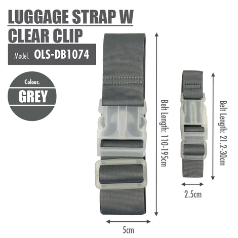 Luggage Strap with Clear Clip (Grey) - HOUZE - The Homeware Superstore