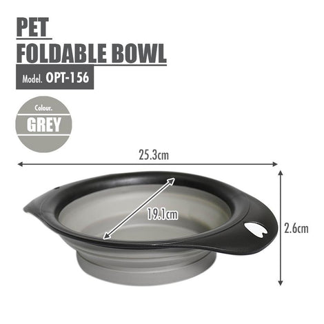 Pet Foldable Bowl (Grey) - HOUZE - The Homeware Superstore