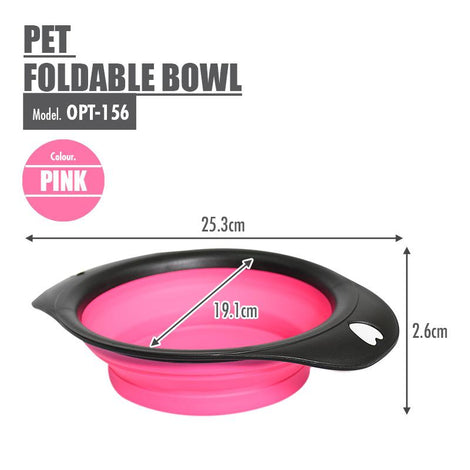 Pet Foldable Bowl (Pink) - HOUZE - The Homeware Superstore