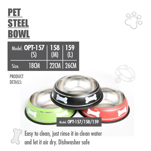 Pet Steel Bowl (18CM) - Black - HOUZE