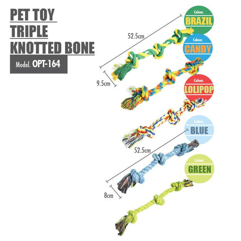 Pet Toy Triple Knotted Bone (Green)