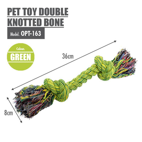 Pet Toy Double Knotted Bone (Green)