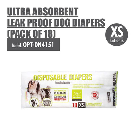 Ultra Absorbent Leak Proof Dog Diapers 'X-Small' (Pack of 18) - HOUZE - The Homeware Superstore