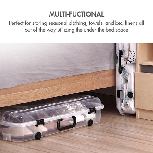 HOUZE - 30L Underbed Storage with Wheels and Handle (Clear) - HOUZE - The Homeware Superstore