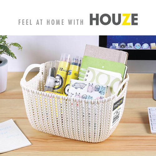 HOUZE Braided Storage Basket with Handle (Small)