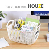 HOUZE Braided Storage Basket with Handle (Small: 23.5x16.5x13.5cm)