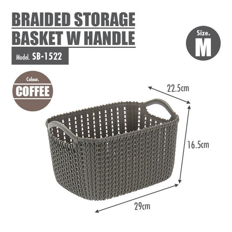 HOUZE Braided Storage Basket with Handle (Medium) - HOUZE - The Homeware Superstore