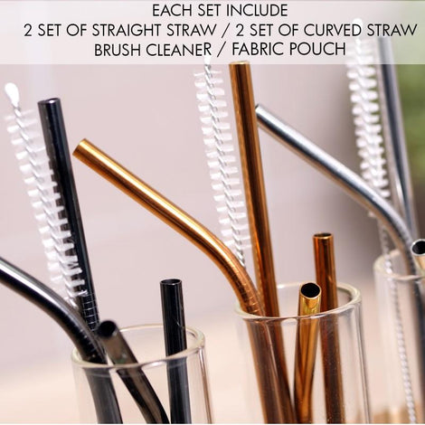 HOUZE - Stainless Steel Straw - Set of 4 (Black) - HOUZE - The Homeware Superstore