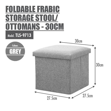 Foldable Fabric Storage Stool/Ottomans - 30cm (Grey) - HOUZE - The Homeware Superstore