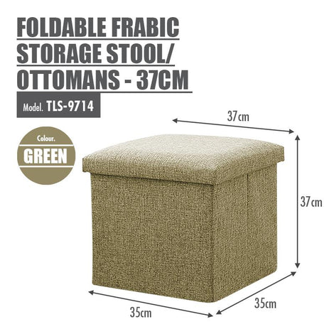 Foldable Fabric Storage Stool/Ottomans - 37cm (Green) - HOUZE - The Homeware Superstore