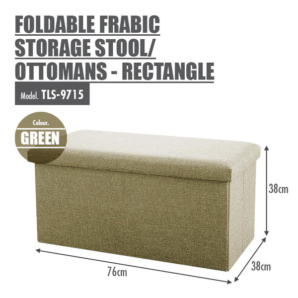 Foldable Fabric Storage Stool/Ottomans - Rectangle (Green) - HOUZE - The Homeware Superstore