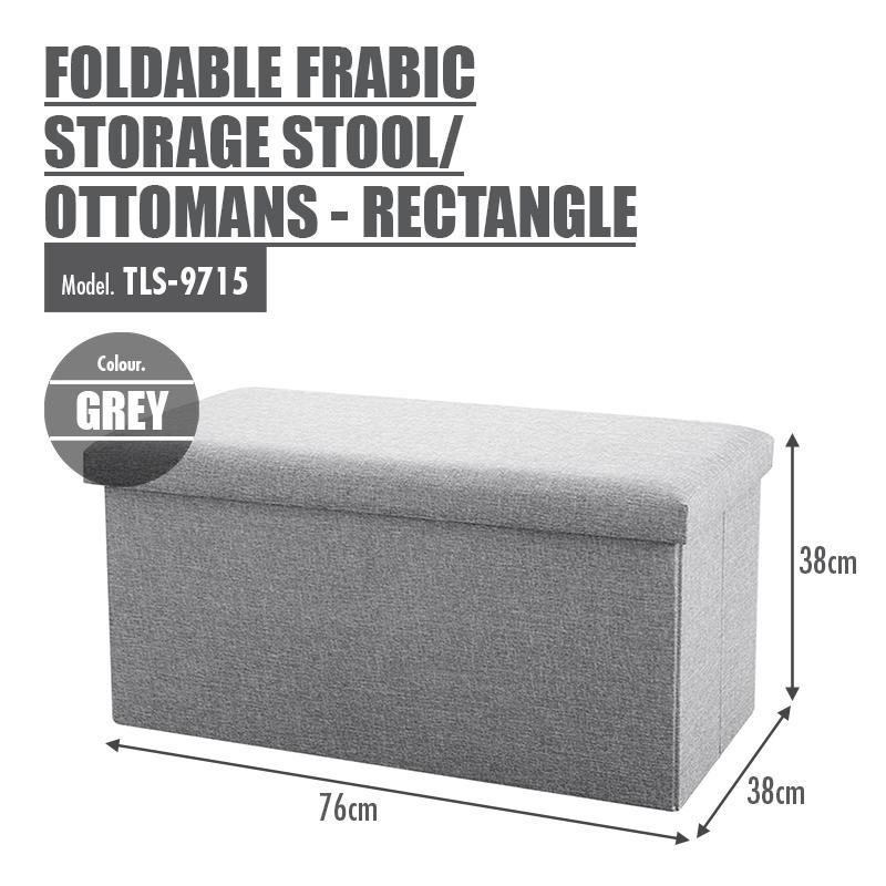 Foldable Fabric Storage Stool/Ottomans - Rectangle (Grey) - HOUZE - The Homeware Superstore