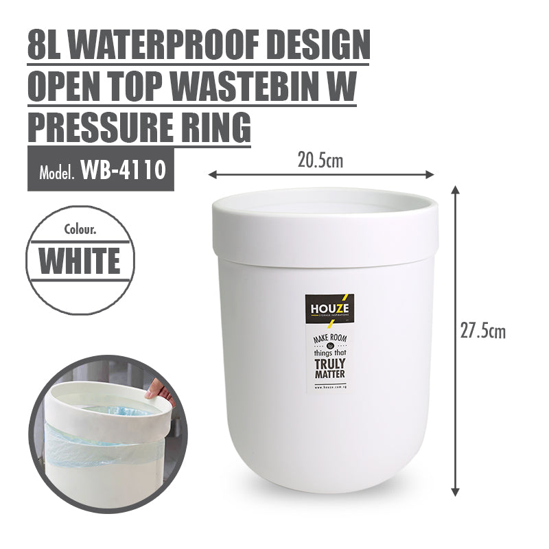 HOUZE - 8L Waterproof Design Open Top Wastebin (White) - HOUZE - The Homeware Superstore