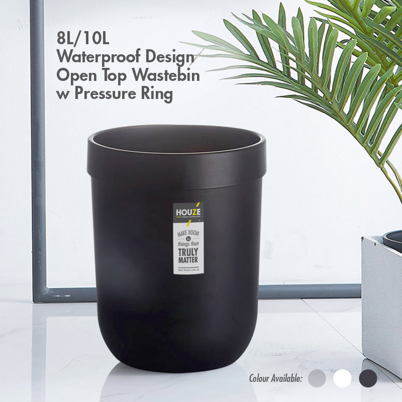 HOUZE - 8L WATERPROOF DESIGN OPEN TOP WASTEBIN (BLACK) - HOUZE - The Homeware Superstore