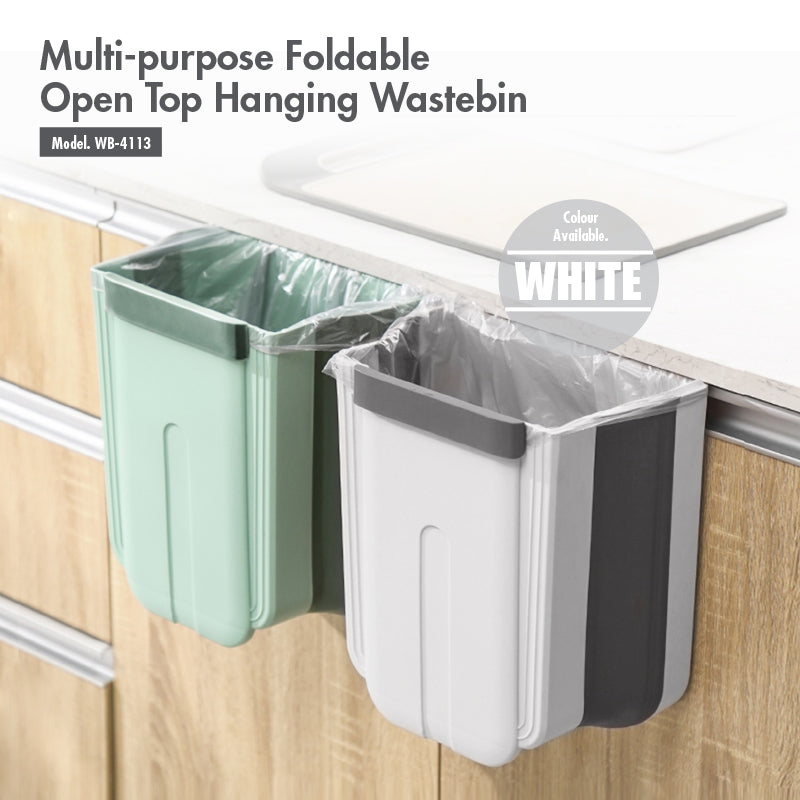 HOUZE - Multi-purpose Foldable Open Top Hanging  Wastebin (White) - HOUZE - The Homeware Superstore