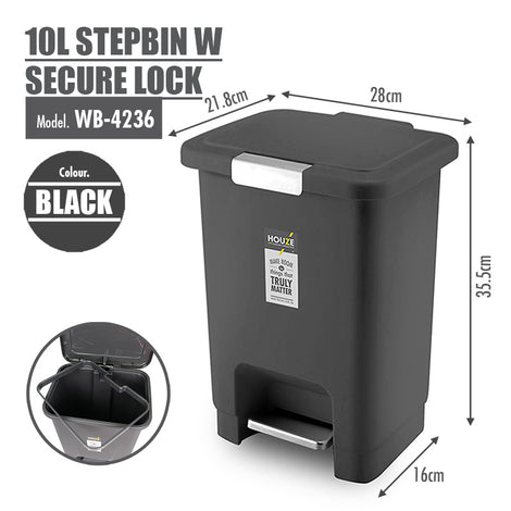 HOUZE - 10L Stepbin with Secure Lock (Black) - HOUZE - The Homeware Superstore