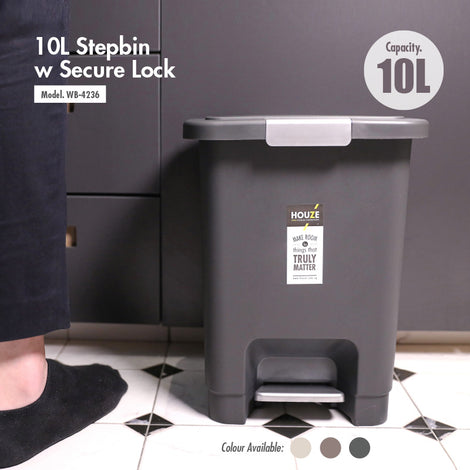 HOUZE - 10L Stepbin with Secure Lock (Coffee) - HOUZE - The Homeware Superstore