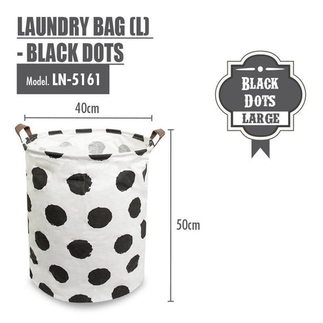 Laundry Necessities - HOUZE Laundry Bag (Large) - Black Dots