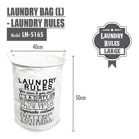 HOUZE - Laundry Bag (Large) - Laundry Rules - HOUZE - The Homeware Superstore