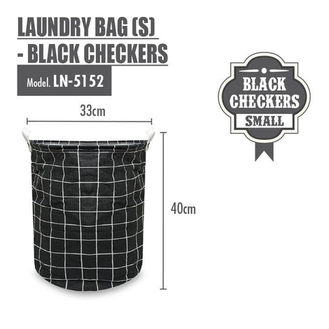 HOUZE - Laundry Bag (Small) - Black Checkers - HOUZE - The Homeware Superstore
