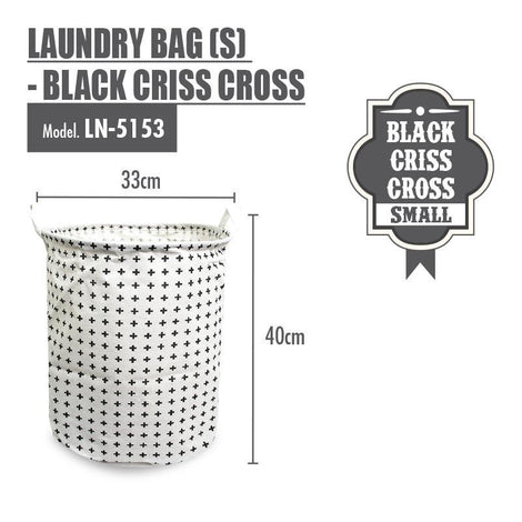 Laundry Necessities - HOUZE Laundry Bag (Small) - Black Criss Cross