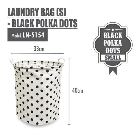 Laundry Necessities - HOUZE Laundry Bag (Small) - Black Polka Dots