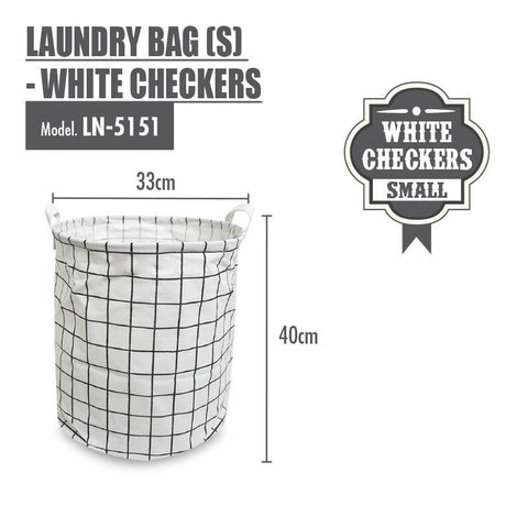 HOUZE - Laundry Bag (Small) - White Checkers - HOUZE - The Homeware Superstore