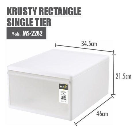 HOUZE Krusty Rectangle Single Tier (Dim: 34x46x21cm) - HOUZE - The Homeware Superstore