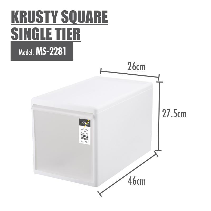 HOUZE Krusty Square Single Tier (Dim: 26x46x27cm) - HOUZE - The Homeware Superstore