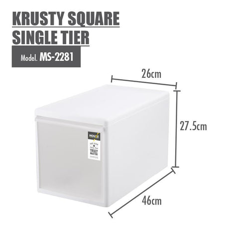 Modular Stacking Drawer - Houze Krusty Square Single Tier (Dim: 26x46x27cm)