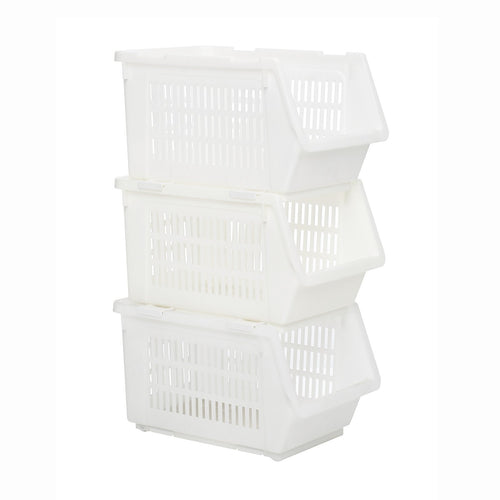 HOUZE Stackable Multi Purpose Rectangle Basket (White) - HOUZE - The Homeware Superstore