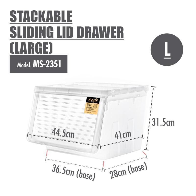 Modular Stacking Drawer - [Set Of 4] HOUZE Stackable Sliding Lid Drawer (Large)