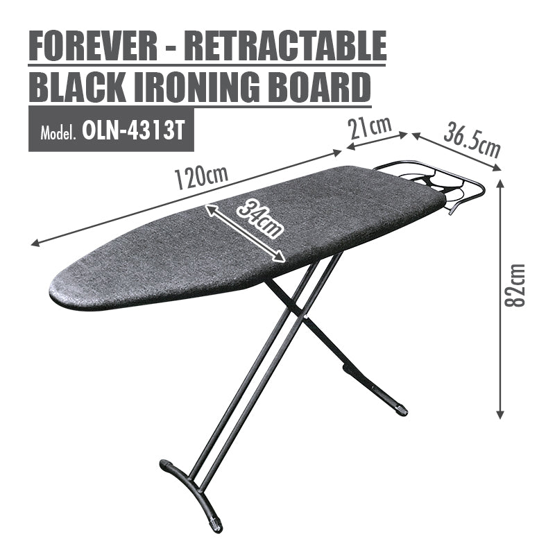 FOREVER - Retractable Black Ironing Board (Dim: 131 x 33cm) - HOUZE - The Homeware Superstore