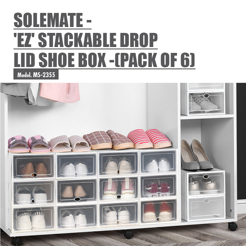 SoleMate - 'EZ' Stackable Drop Lid Shoe Box - Fits: Size 44 (Pack of 6)