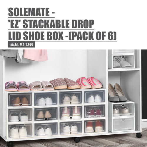 SoleMate - 'EZ' Stackable Drop Lid Shoe Box - Fits: Size 44 (Pack of 6) - HOUZE - The Homeware Superstore