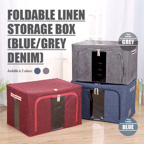 HOUZE - Foldable Linen Storage Box (Blue Denim) - HOUZE - The Homeware Superstore