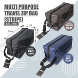 HOUZE - Multi Purpose Travel Zip Bag (Brown Stripe) - HOUZE - The Homeware Superstore