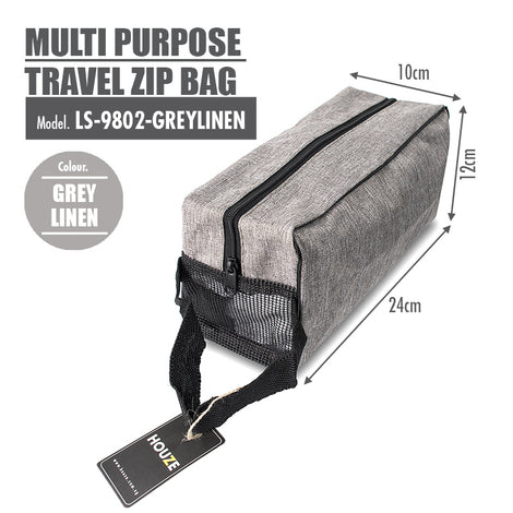HOUZE - Multi Purpose Travel Zip Bag (Grey Linen) - HOUZE - The Homeware Superstore